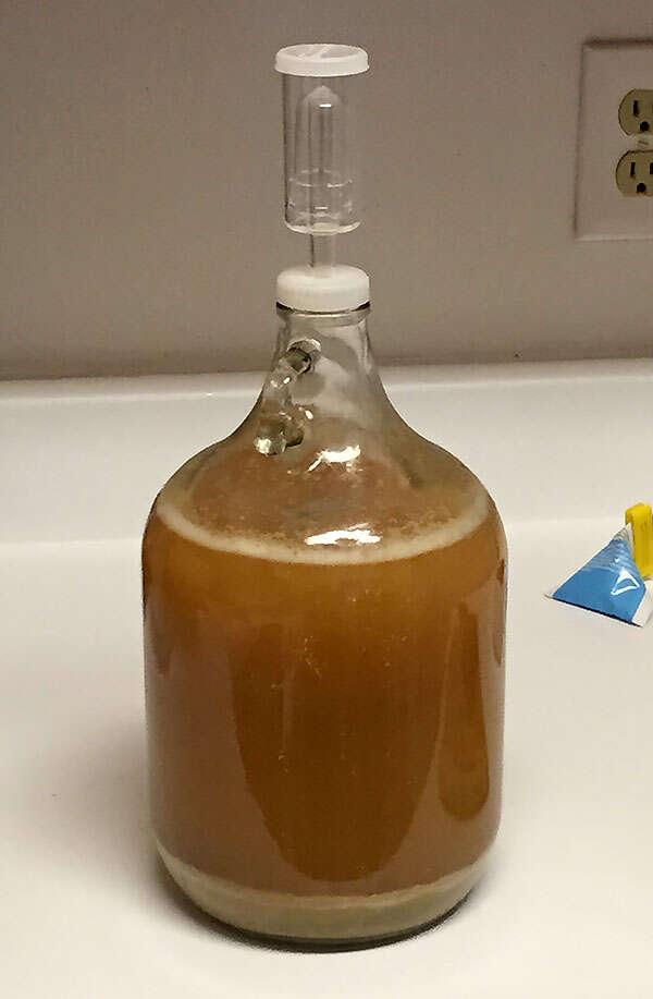Cerveza casera en proceso de fermentación