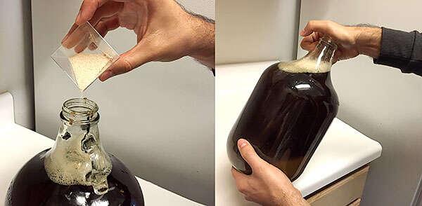 Agregando levadura en fermentador