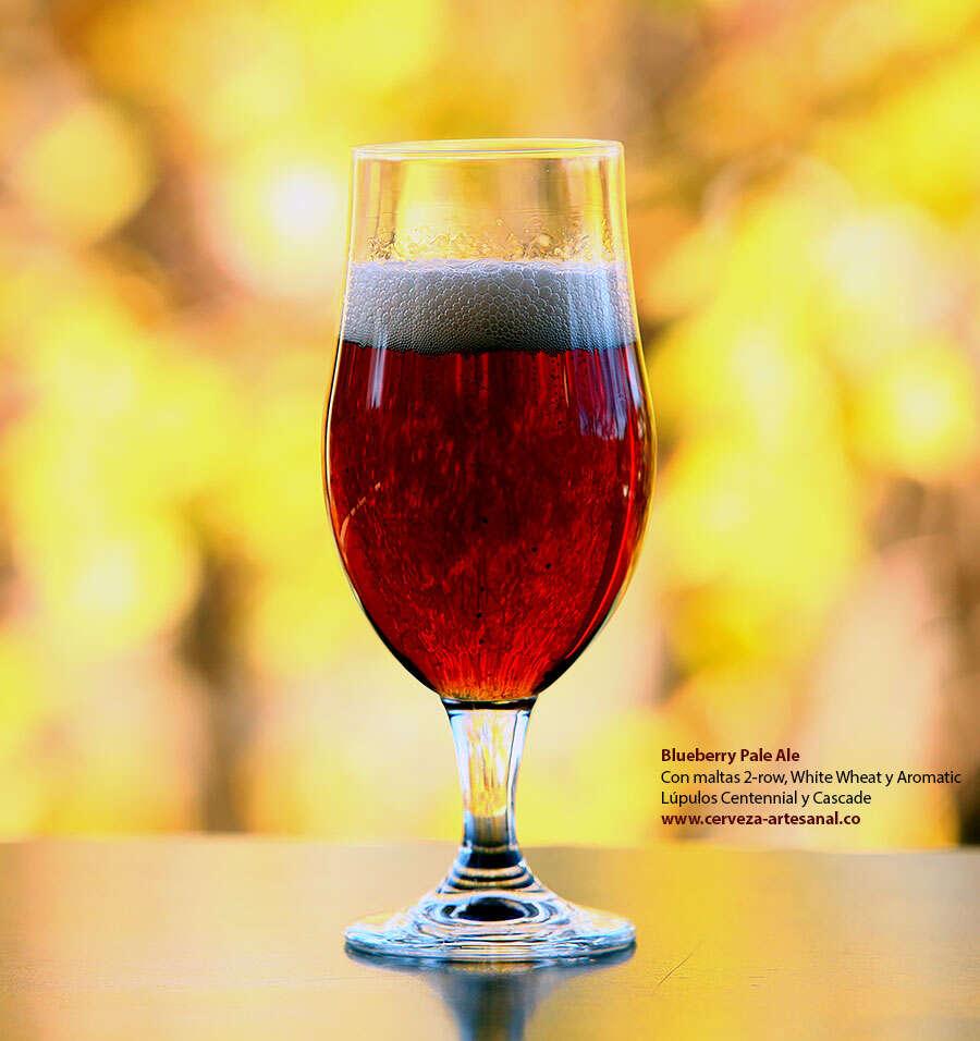 Blueberry Pale Ale, con maltas 2-row, White Wheat y Aromatic; Lúpulos Centennial y Cascade