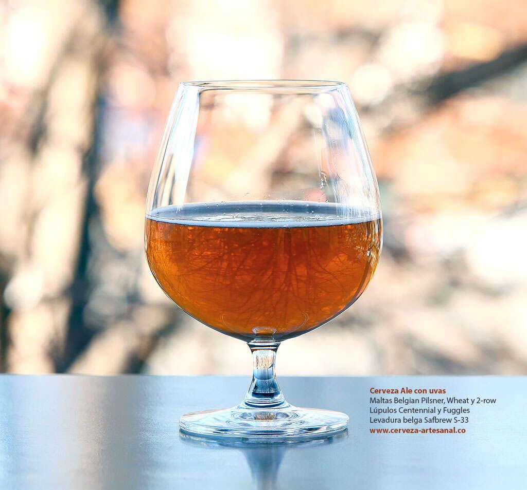 Cerveza Ale con uvas, maltas Belgian Pilsner, Wheat, 2-row; Lúpulos Centennial y Fuggles