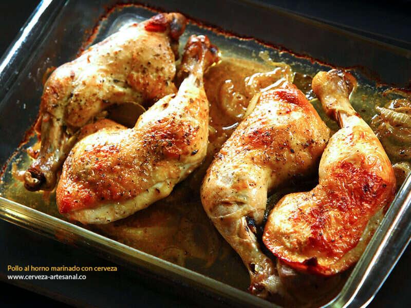 Perniles de pollo al horno marinado en cerveza